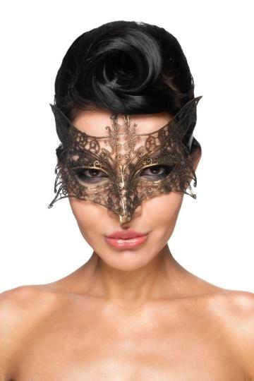 """Золотистая карнавальная маска """"Шератан"""""""