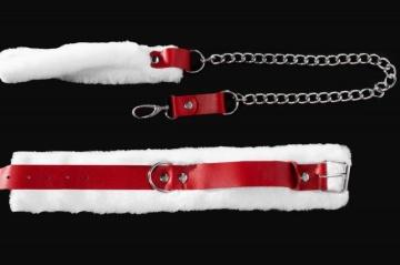 Бело-красный кожаный ошейник с поводком