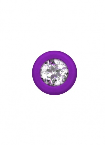 Фиолетовая анальная цепочка с кристаллом Chummy - 16 см.