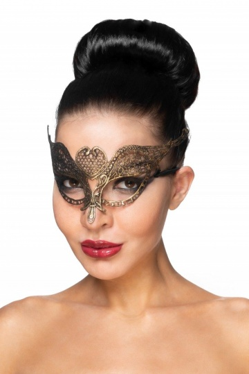 """Золотистая карнавальная маска """"Поррима"""""""