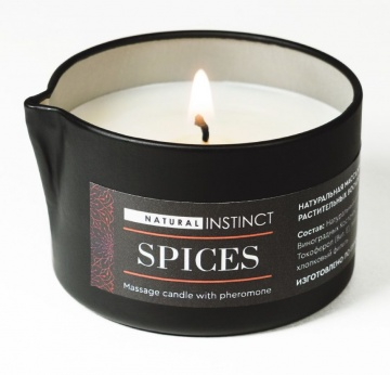 Массажная свеча с феромонами Natural Instinct SPICES - 70 мл.