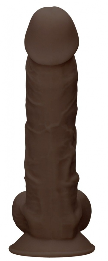 Коричневый фаллоимитатор Silicone Dildo With Balls - 22,8 см.