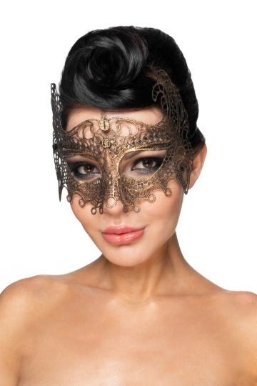 """Золотистая карнавальная маска """"Рукба"""""""