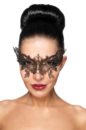 """Золотистая карнавальная маска """"Спика"""""""
