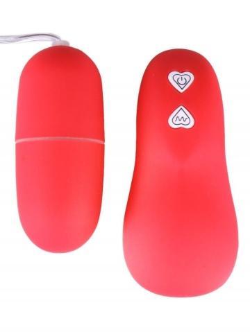Красное гладкое виброяйцо с дистанционным управлением