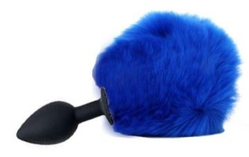 Черная анальная пробка с пушистым синим хвостиком зайки
