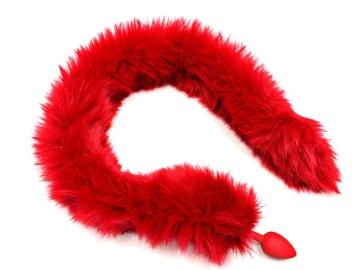 Красная анальная пробка с длинным хвостом