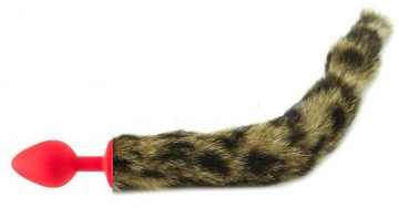 Красная анальная пробка с кошачьим хвостиком