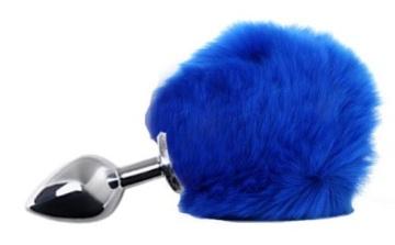 Серебристая анальная пробка с пушистым синим хвостиком зайки