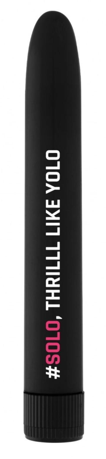 Черный гладкий вибромассажер Feelgood Vibe #Solo - 17,2 см.