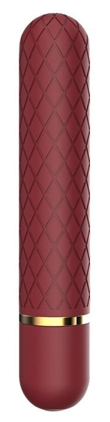 Бордовый мини-вибратор Lizzy с ромбовидным рельефом - 12,7 см.