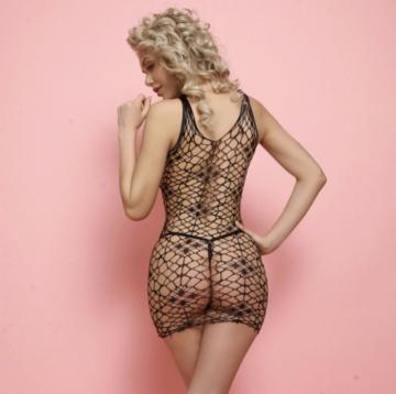 Эротическое мини-платье на бретелях