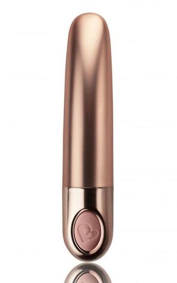 Золотистый мини-вибратор Ellipse - 10,5 см.
