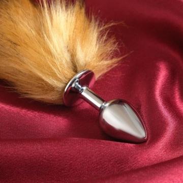 Серебристая анальная пробка с каштановым хвостом