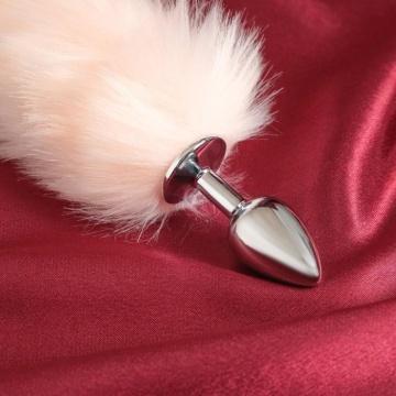 Серебристая анальная втулка с розовым хвостом
