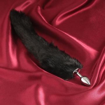 Серебристая анальная втулка с черным хвостиком
