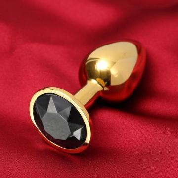 Золотистая анальная пробка с черным кристаллом