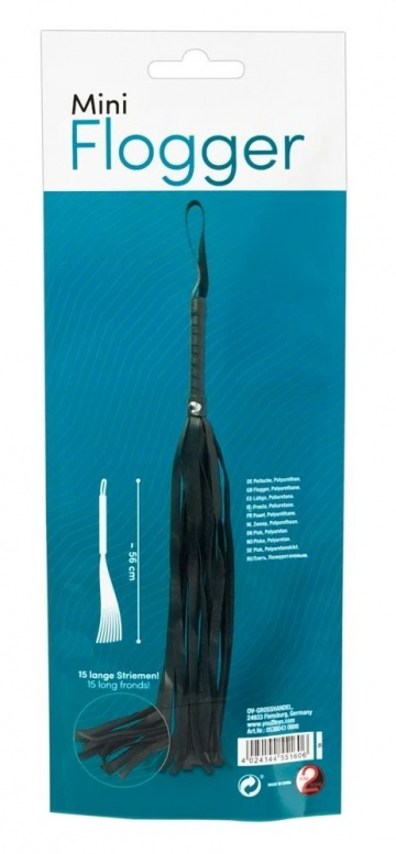Черная плеть Mini Flogger - 56 см.