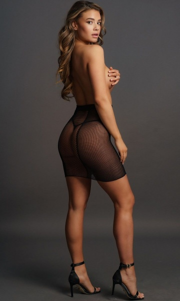 Юбка в сетку с высокой талией High-waist Fishnet Skirt