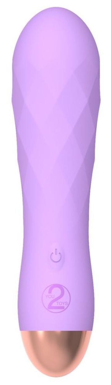 Сиреневый рельефный мини-вибратор Cuties 2.0 - 12,5 см.
