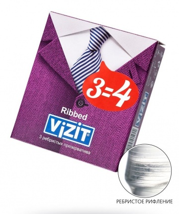 Ребристые презервативы VIZIT Ribbed - 3 шт.