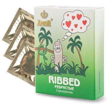 """Ребристые презервативы AMOR Ribbed """"Яркая линия"""" - 3 шт."""