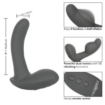 Серый стимулятор простаты Remote Control Inflatable Probe с вибрацией и функцией расширения - 11,5 см.