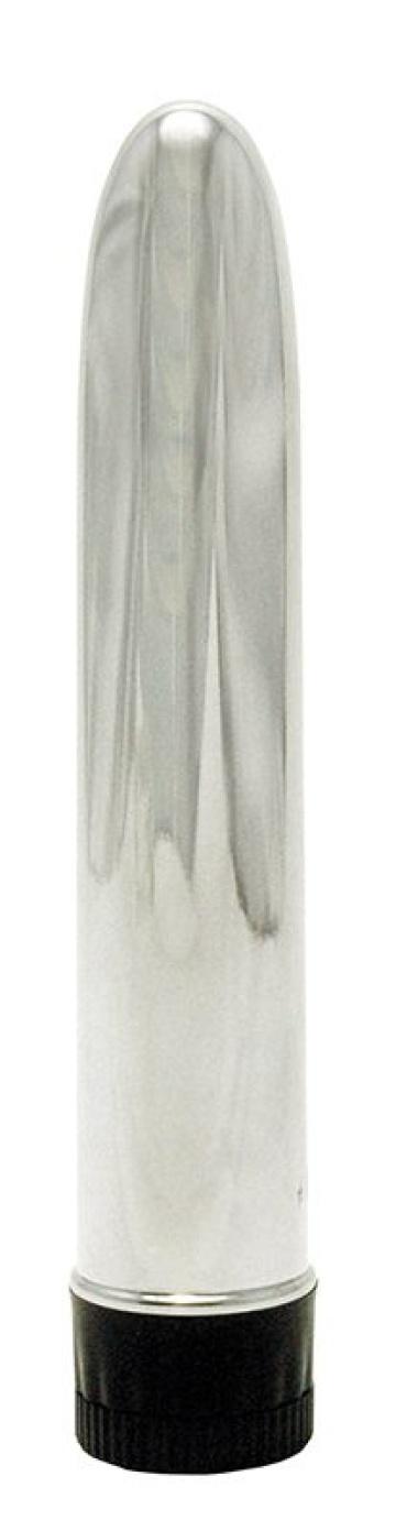 Серебристый вибратор TOTAL SILVER - 17 см.