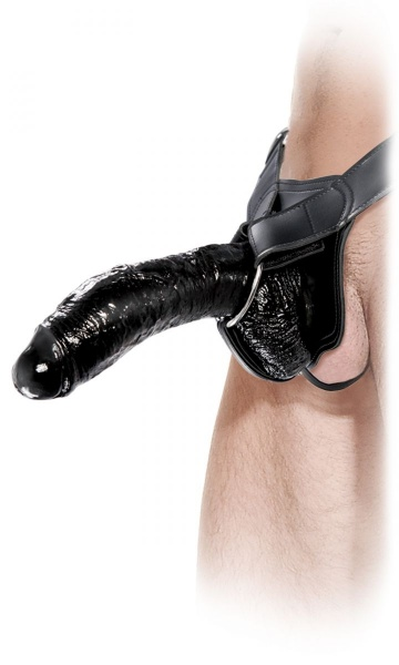Полый страпон Extreme Hollow Strap-On чёрного цвета - 25 см.
