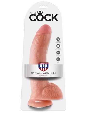"""Телесный фаллоимитатор 9"""" Cock with Balls - 22,9 см."""