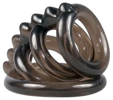 Дымчатая стимулирующая насадка на пенис из 4 колец - 6,5 см.