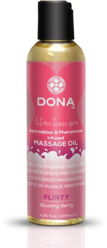 Массажное масло с феромонами DONA Flirty Blushing Berry - 125 мл.