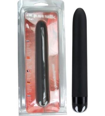 Черный гладкий вибромассажер Aqua Silk - 15,5 см.