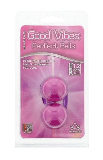 Фиолетовые вагинальные шарики на мягкой сцепке GOOD VIBES PERFECT BALLS