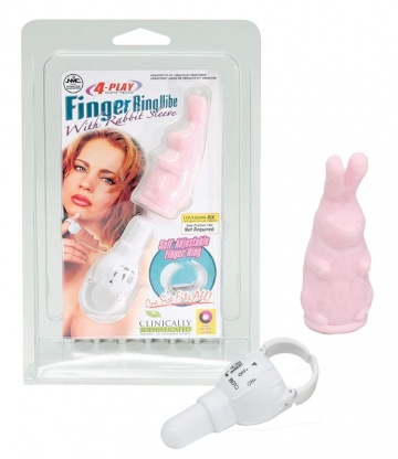 Розовый виброзайчик 4PLAY FINGER RING VIBE RABBIT PINK