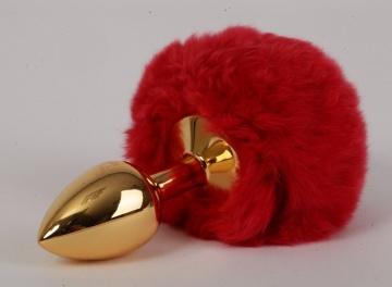 """Золотистая анальная пробка c пушистым красным хвостом """"Задорный Кролик"""""""