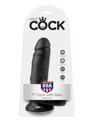 """Чёрный фаллоимитатор с мошонкой 7"""" Cock with Balls - 19,4 см."""