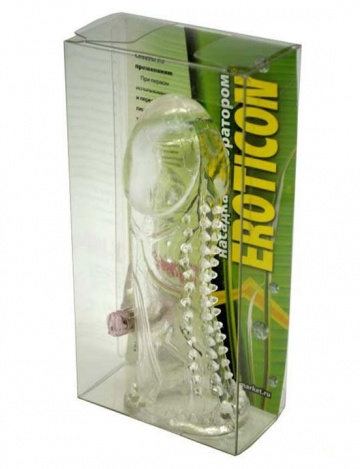 Прозрачная закрытая насадка с виброкоготком - 13 см.