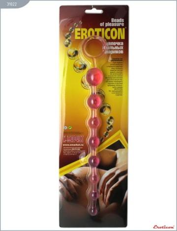 Розовая анальная цепочка с ручкой - 30 см.