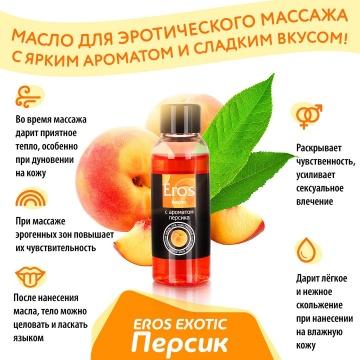 Массажное масло Eros exotic с ароматом персика - 75 мл.