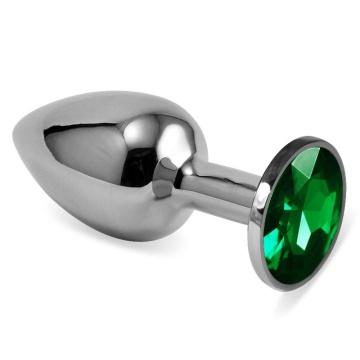 Серебристая анальная пробка с зелёным кристаллом размера S - 7 см.