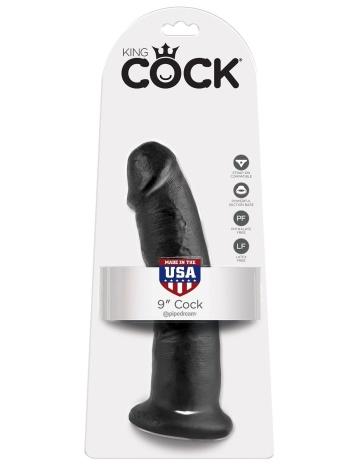 """Чёрный фаллоимитатор 9"""" Cock - 22,9 см."""