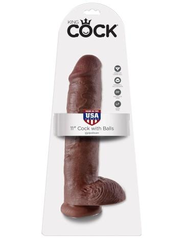 """Коричневый фалоимитатор-гигант на присоске 11"""" Cock with Balls - 28 см."""