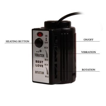 Вибратор-ротатор с функцией нагрева Fiery Dong - 20,4 см.