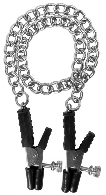 Зажимы на соски Block Busters Nipple Clamps с цепью