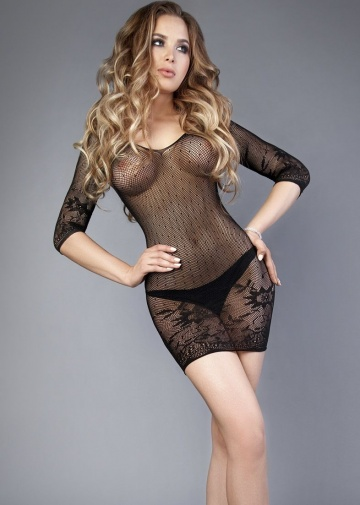 Чёрное платье-сетка с длинными рукавчиками