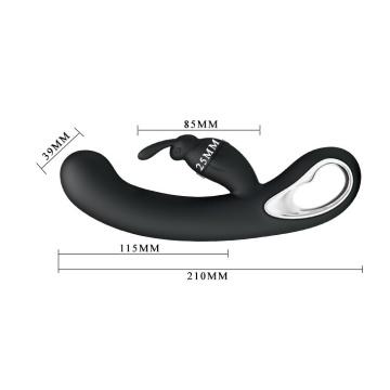Чёрный вибратор Webb с 12 видами вибрации и клиторальным зайчиком - 21 см.