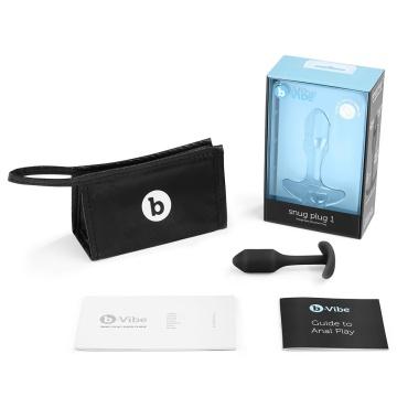Чёрная пробка для ношения B-vibe Snug Plug 1 - 9,4 см.