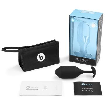 Чёрная пробка для ношения B-vibe Snug Plug 4 - 14 см.