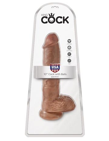 """Фаллоимитатор-мулат с мошонкой 10"""" Cock with Balls на присоске - 25,4 см."""